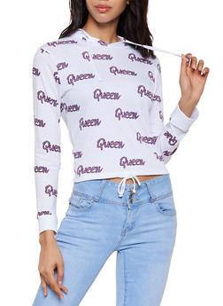 Queen Graphic Print Hooded Top - 3036033871782