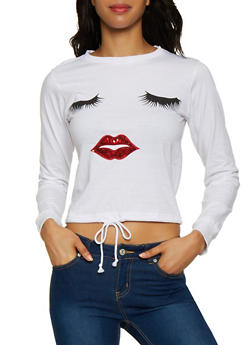 Sequin Lip Drawstring Hem Tee - 3036033871783