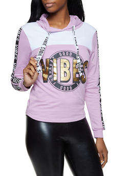 Good Vibes Graphic Color Block Sweatshirt - 3036033873321