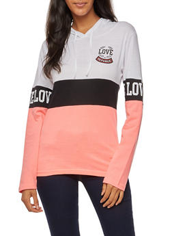 Long Sleeve Love Republic Graphic Hooded Top - 3036033878884