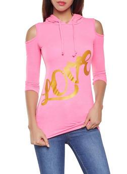 Love Graphic Cold Shoulder Sweatshirt - 3036038342264