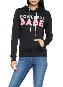 Powerful Babe Graphic Hooded Sweatshirt - 3036038343402
