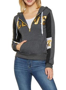 Love Graphic Half Zip Sweatshirt - 3036038343436