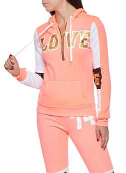 Love Graphic Half Zip Sweatshirt - 3036038343436