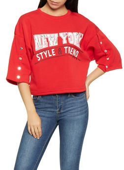 Graphic Bell Sleeve Sweatshirt - 3036051060015