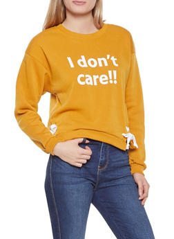 Lace Up Side Graphic Sweatshirt - 3036051060026