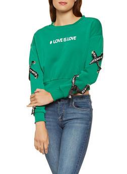 Love Graphic Lace Up Sweatshirt - 3036051060144