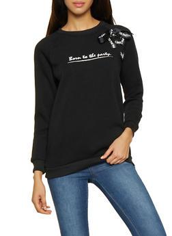 Graphic Lace Up Sweatshirt - 3036051060153