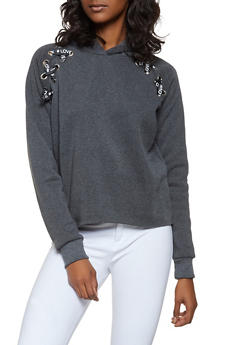 Graphic Ribbon Lace Up Sweatshirt - 3036051060260