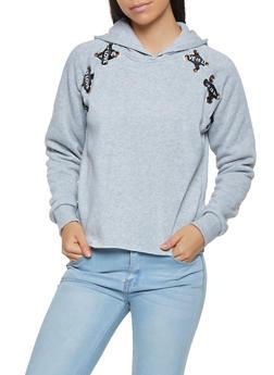 Graphic Ribbon Lace Up Sweatshirt - 3036051060260