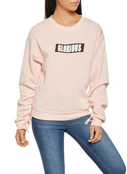 Graphic Ruched Sleeve Sweatshirt - 3036051069981