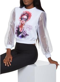 Organza Sleeve Face Graphic Sweatshirt - 3036058751662