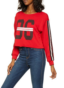 Elastic Tape Sleeve Graphic Sweatshirt - 3036074295069