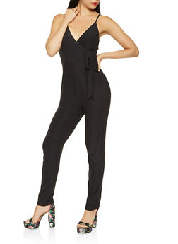 Faux Wrap Soft Knit Jumpsuit - 3045015050066