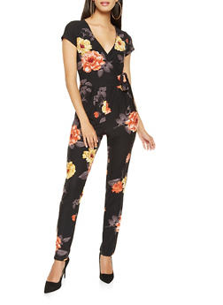 Printed Faux Wrap Jumpsuit - 3045015050158