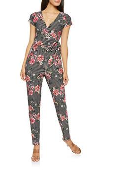 Printed Faux Wrap Jumpsuit - 3045015050158