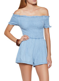 Smocked Off the Shoulder Denim Romper - 3045038340344