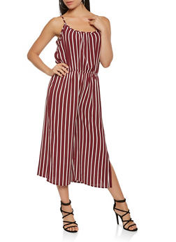 Striped Wide Leg Cropped Jumpsuit - 3045054260482