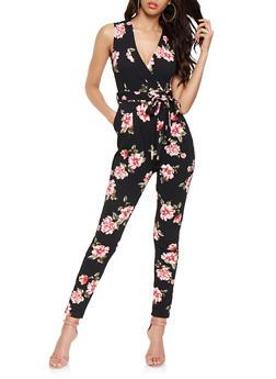 Floral Faux Wrap Jumpsuit - 3045058752951