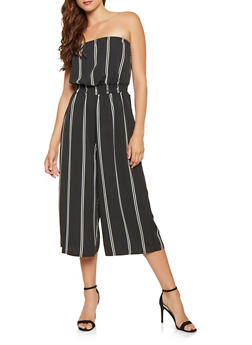 Striped Cropped Tube Jumpsuit - 3045058753145