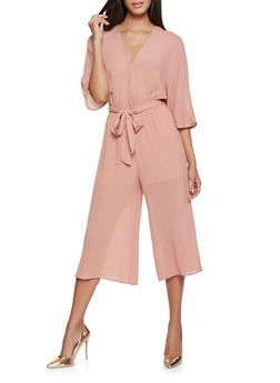 Faux Wrap Wide Leg Jumpsuit - 3045058753801