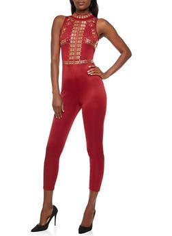 Sleeveless Rhinestone Studded Jumpsuit - 3045058930805