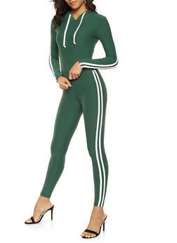Varsity Stripe Leggings and Hooded Top Set - 3045061631260