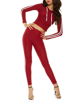 Varsity Stripe Leggings and Hooded Top Set - WINE - 3045061631260