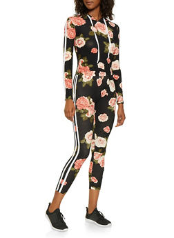 Hooded Floral Top with Leggings - 3045061631262
