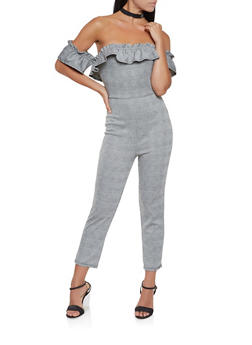 Plaid Off the Shoulder Jumpsuit - 3045069395090