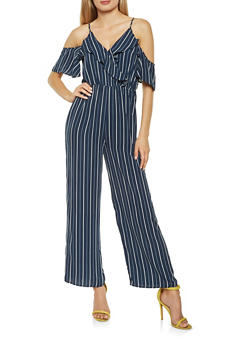 Striped Cold Shoulder Palazzo Jumpsuit - 3045069395091