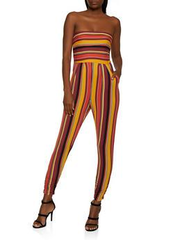 Striped Soft Knit Tube Jumpsuit - 3045073378703