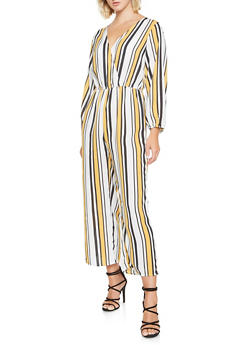 Striped Faux Wrap Jumpsuit - 3045074281912