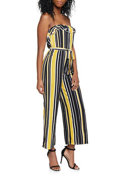 Striped Strapless Wide Leg Jumpsuit - 3045074282808