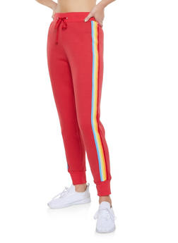 Striped Tape Trim Joggers - 3056001441409