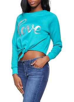 Love Tie Front Sweatshirt - 3056001443806