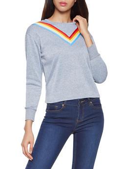Rainbow Striped Tape Sweatshirt - 3056001443807
