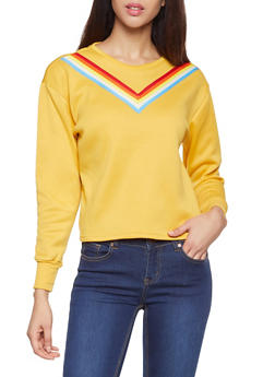 Rainbow Striped Tape Sweatshirt - 3056001443807