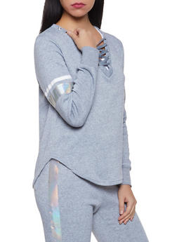 Lace Up Sweatshirt - 3056001443808