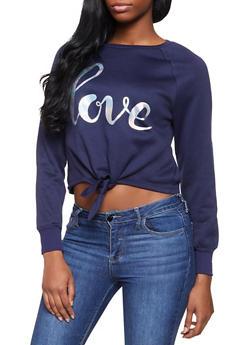 Lace Up Sweatshirt - NAVY - 3056001443808