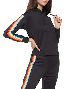 Striped Tape Trim Sweatshirt - 3056001443809