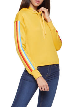 Striped Tape Trim Sweatshirt - 3056001443809