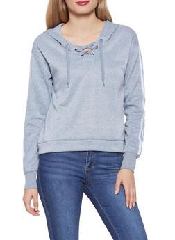 Lace Up Varsity Stripe Sweatshirt - 3056001443810