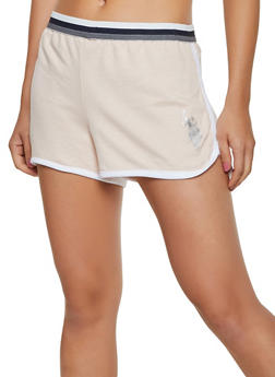 French Terry Contrast Trim Dolphin Shorts - 3056035163581