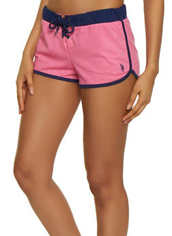 Contrast Trim French Terry Lined Dolphin Shorts - 3056035168911