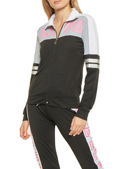 Color Block Love Graphic Track Jacket - 3056038342830