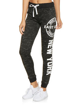 Graphic Color Block French Terry Joggers - 3056038342881