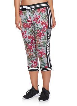 Floral Capri Sweatpants - 3056038346011