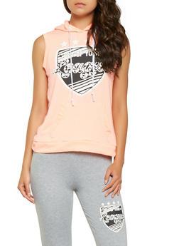 Split Back Graphic Sleeveless Sweatshirt - 3056038346020