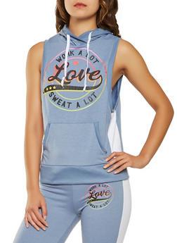 Love Graphic Sleeveless Sweatshirt - 3056038346030